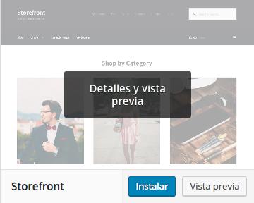 Dinapyme - Instalar tema Storefront para WooCommere en WordPress