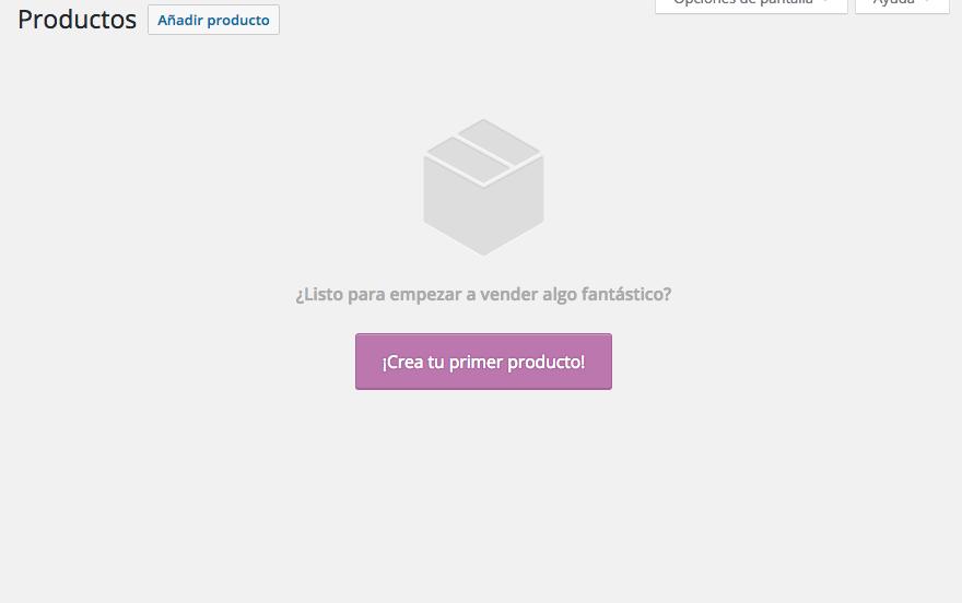 dinapyme - vista de la sección productos de woocommerce vacía