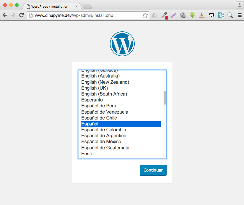 Instalacion wordpress desktopserver 03 - dinapyme