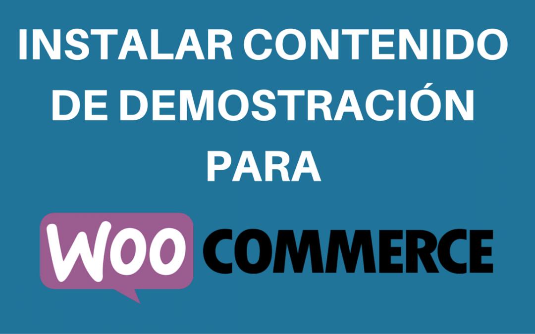 Instalar contenido de demostración para WooCommerce