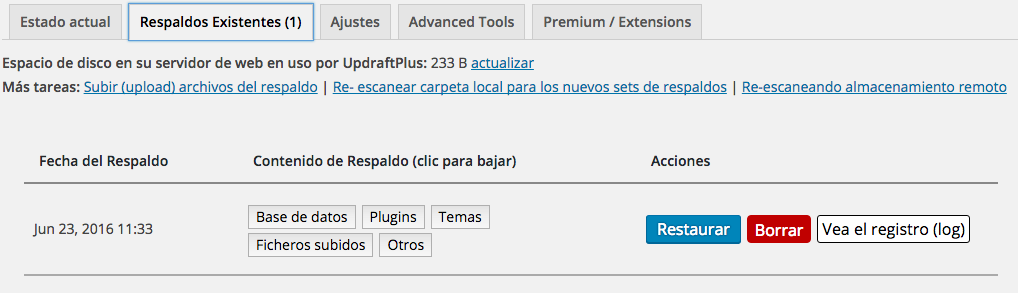 copias de seguridad de WordPress con updraftplus